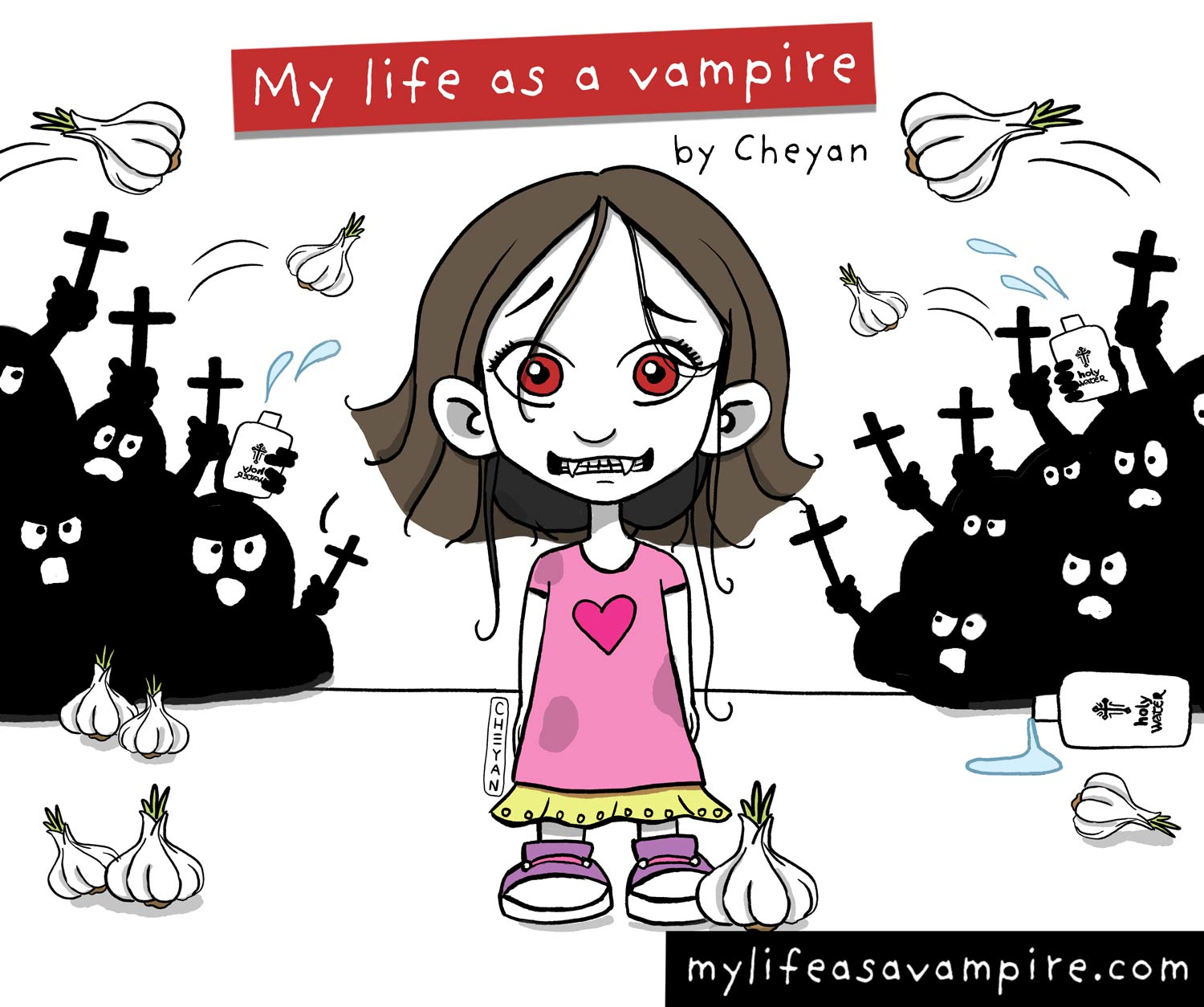 Zabeth the vampire is wearing a wig and bright clothes becaus she wants to blend in in school, but other kids are still throwing garlic heads, holy water and crucifixes at her to get rid of her