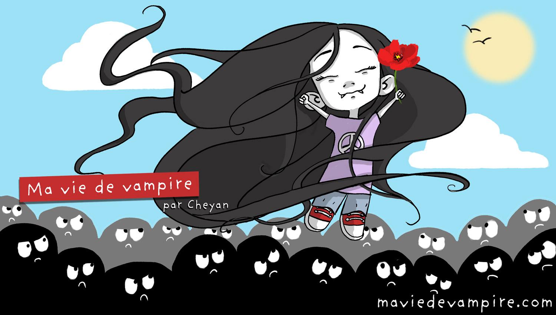 Zabeth le Vampire s'élèvent au dessus des silhouettes noires qui la regardent méchamment, heureuse, pour elle aussi avoir droit au soleil