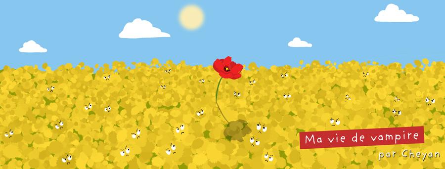 Un champ de pissenlit avec un coquelicot en plein milieu, les pissenlits regardent le coquelicot méchamment