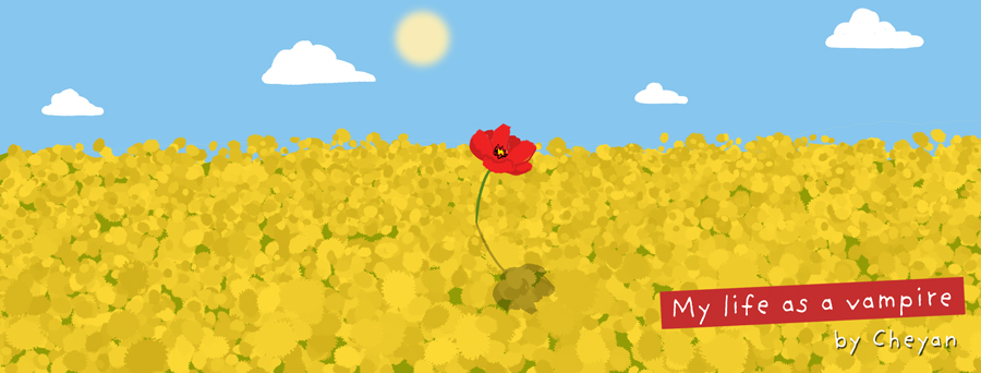 A field of dandelion with a poppy right in the middle.
