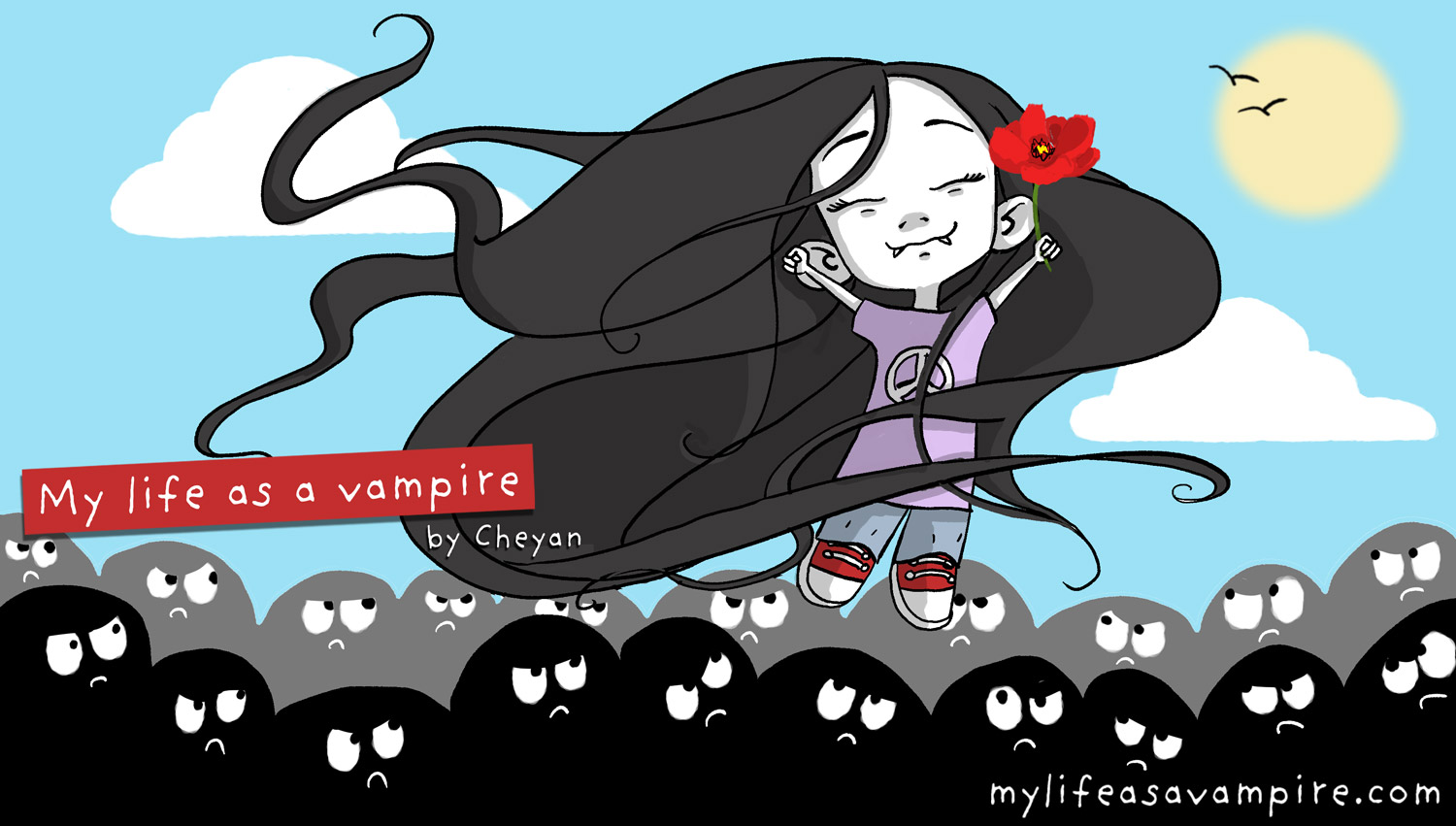 Zabeth the Vampire rises above the black silhouettes who look at her meanly, happy, to enjoy the sun.