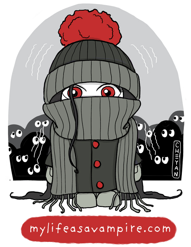 Zabeth is bundled up and is very cold because vampires have a very low body temperature. The other children look at her suspiciously. She feels judged.