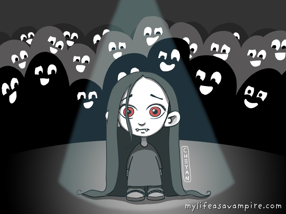 Zabeth is alone in a spotlight, in front of other children in school who make fun of her