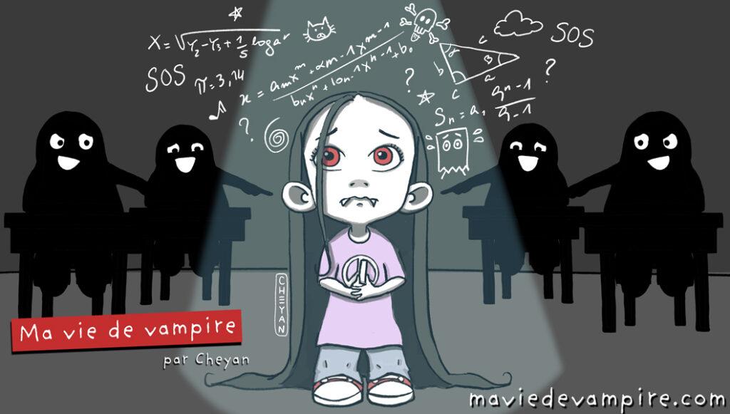 Zabeth le Vampire est au tableau à l'école devant un problème de mathématiques. Elle est si stressée d'être là qu'elle en perd ses moyens et n'arrivent pas à trouver la solution. Les autres élèves derrière elle se moquent d'elle.