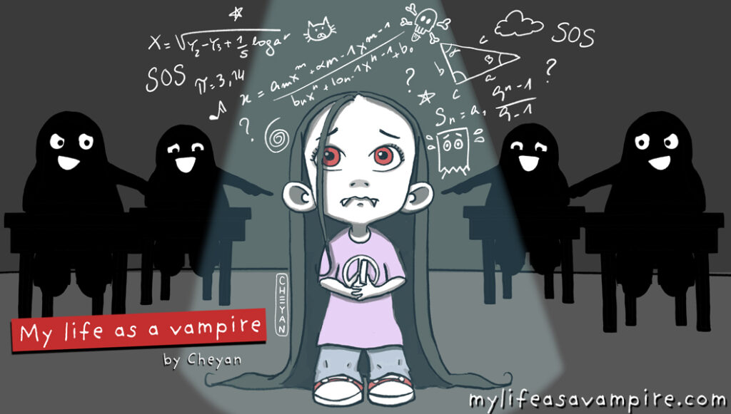 Zabeth the Vampire is at the board at school facing a math problem. She is so stressed to be there that she loses confidence and can't find the solution. The other students behind her are laughing at her.