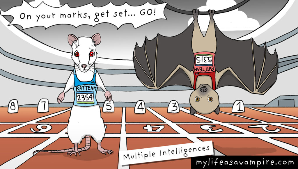To illustrate the theory of multiple intelligences, a rat and a bat are dressed as runners and waiting to compete against each other.