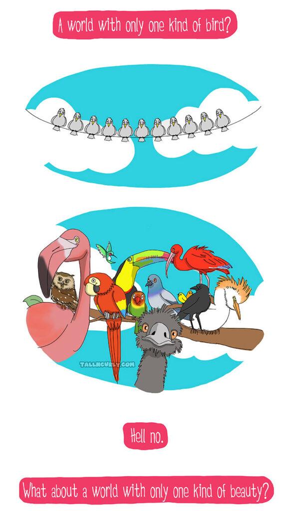 Comic de Tall N Curly mettant en scène des oiseaux tous identiques face à des oiseaux de différentes espèces pour illustrer la richesse de la différence