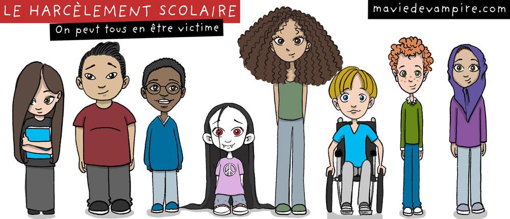 On peut tous être victime de harcèlement scolaire. Être différent accentue les risques. Zabeth le vampire est entourée d'enfants et d'adolescents qui sont tous différents à leur façon.