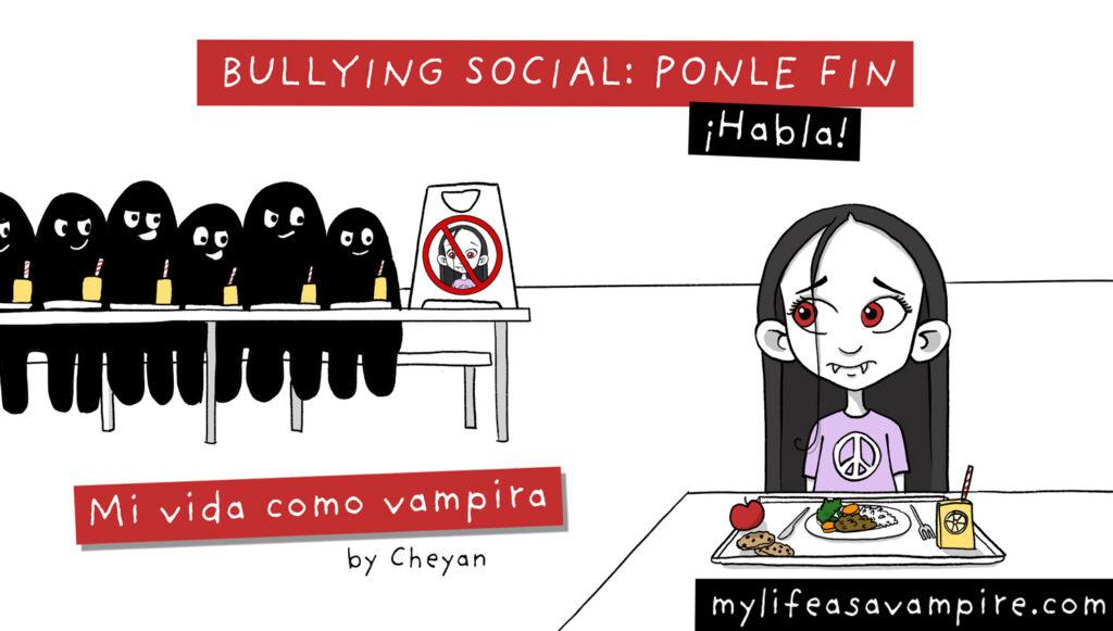 """Zabeth está sentada sola en la cafetería, detrás de ella, los otros niños están sentados todos juntos y han puesto un cartel de """"prohibido"""" en la última silla vacía para que no se siente allí - bullying"""