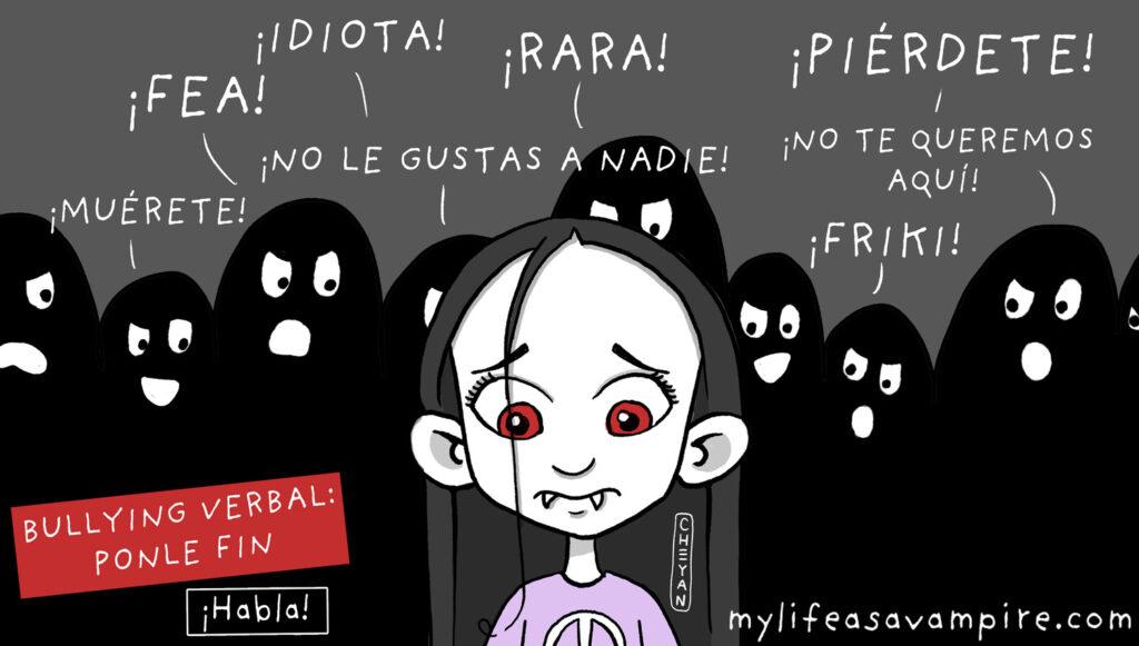 Zabeth, la vampira, está siendo acosada verbalmente por los otros niños (insultos, comentarios crueles, amenazas...). Una ilustración del bullying verbal