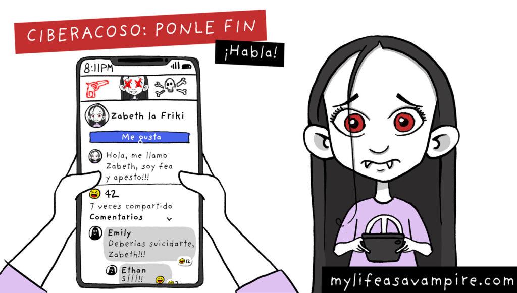 Zabeth la vampira es víctima de ciberbullying en el colegio, a través de internet y las redes sociales (Facebook, Tik tok, Instagram...) - bullying