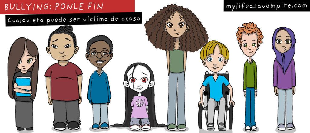 Todos podemos sufrir bullying en la escuela. Ser diferente aumenta los riesgos. Zabeth la vampira está rodeada de niños y adolescentes que son todos diferentes a su manera.
